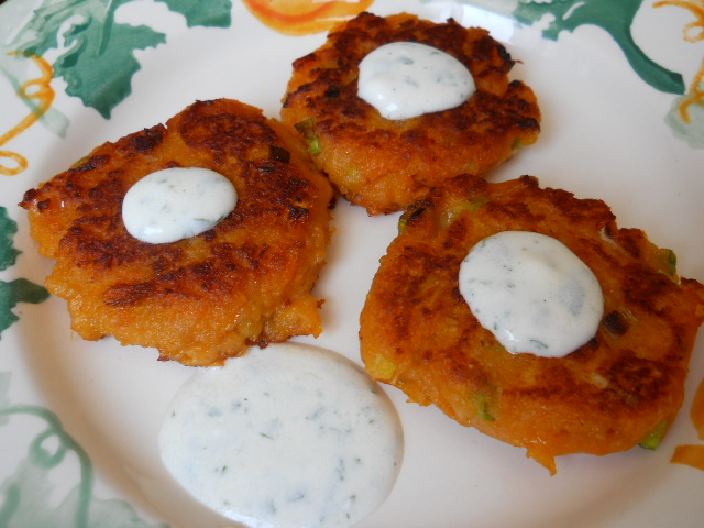 Sweet Potato Cakes with Yogurt Dip