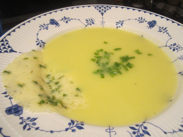 Leek & Potato Soup with Cheddar Cheese-Chive Tuile
