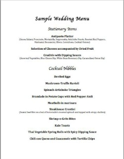 Sample Wedding Menu 1